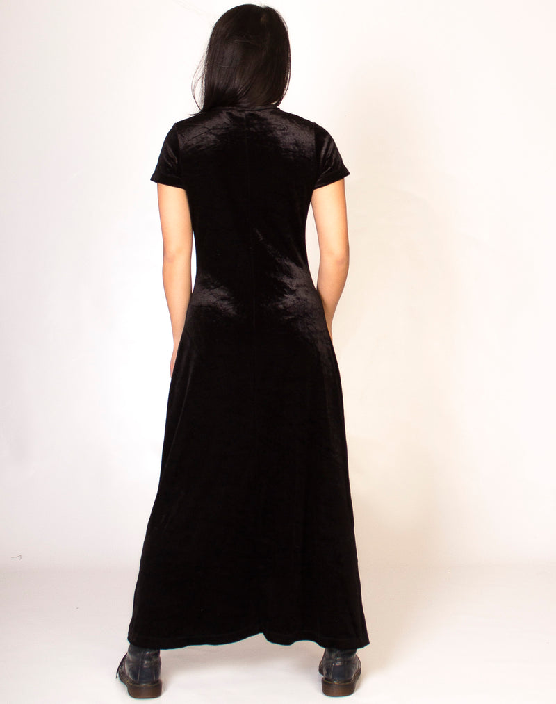 BLACK CREW NECK VELVET MAXI DRESS