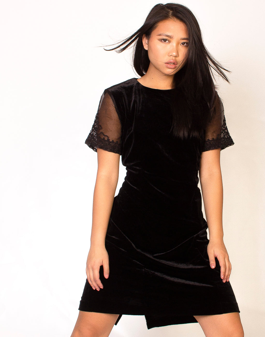 BLACK LACED SLEEVE SKATER DRESS