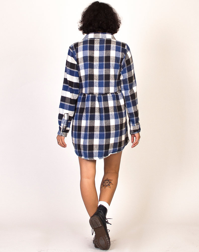 BLUE CHECK FLANNEL ROXY SMOCK DRESS