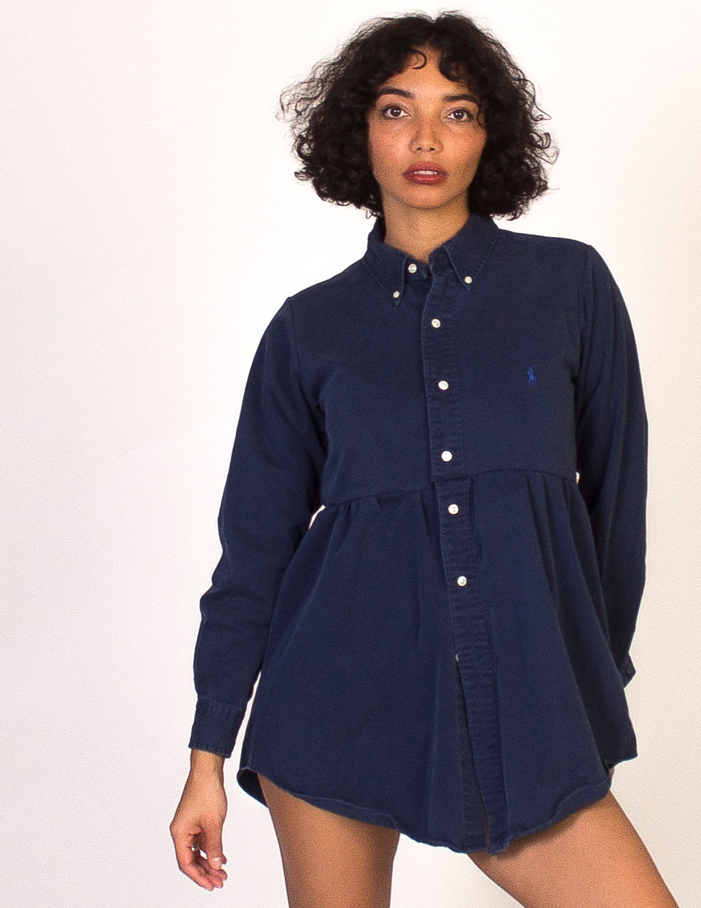 RALPH LAUREN NAVY ROXY SMOCK DRESS