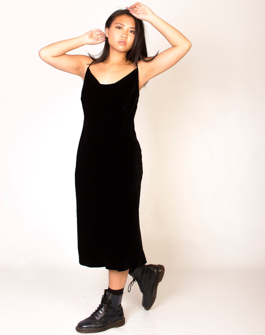 COWL NECK BLACK MIDI SLIP DRESS