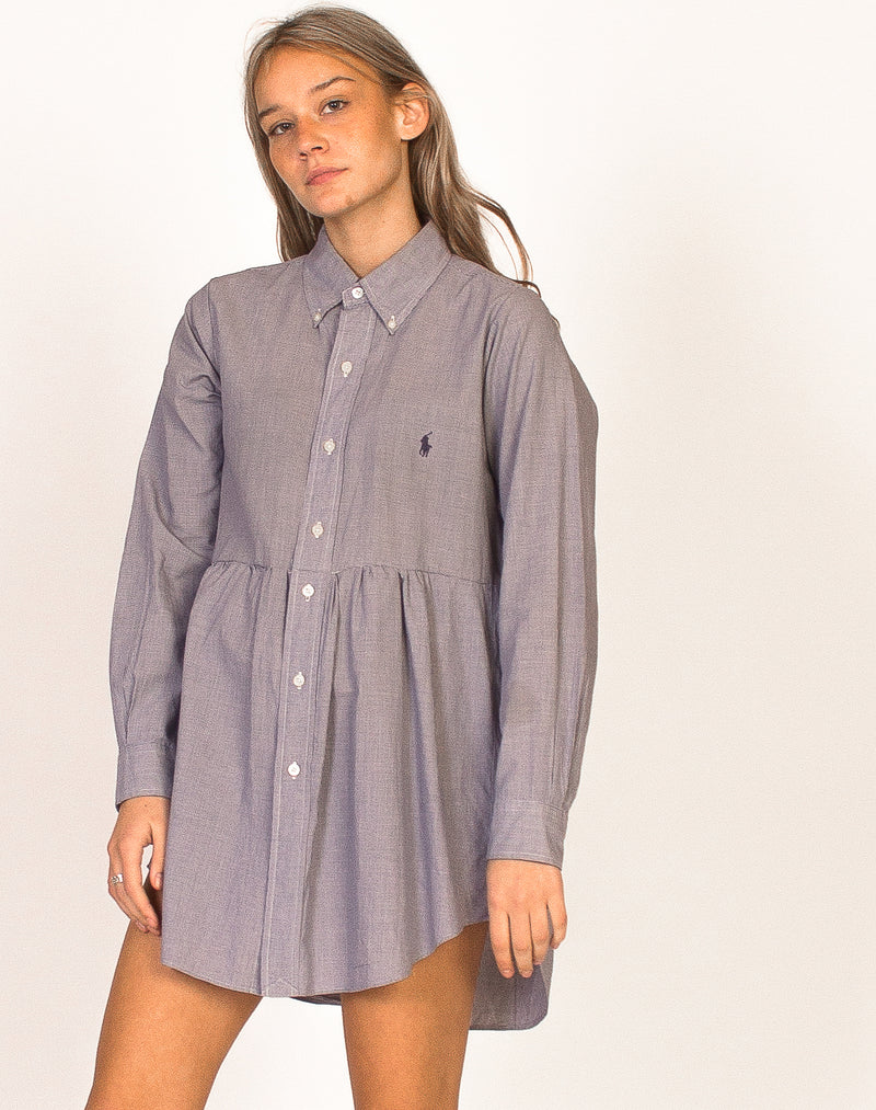 RALPH LAUREN BLUE AND WHITE CHECK SMOCK DRESS
