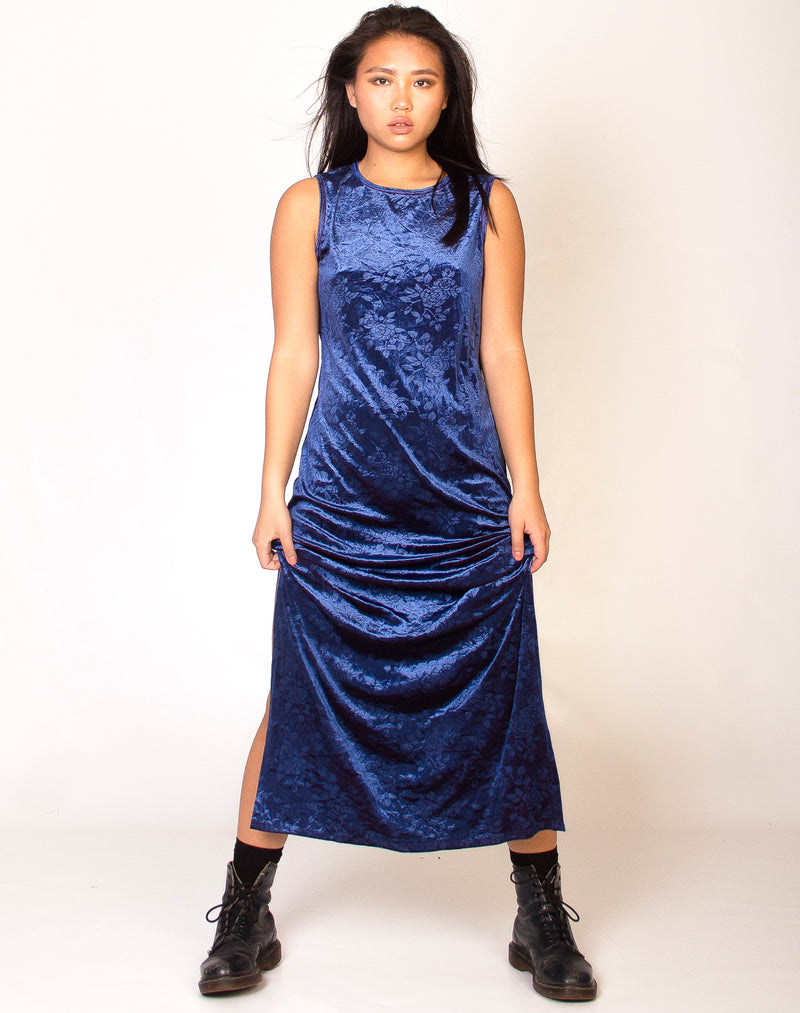 BLUE DUOCHROME VELVET MAXI DRESS