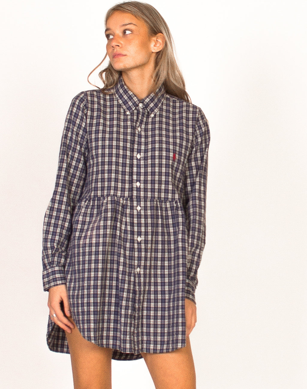 RALPH LAUREN BLUE CHECK SMOCK DRESS
