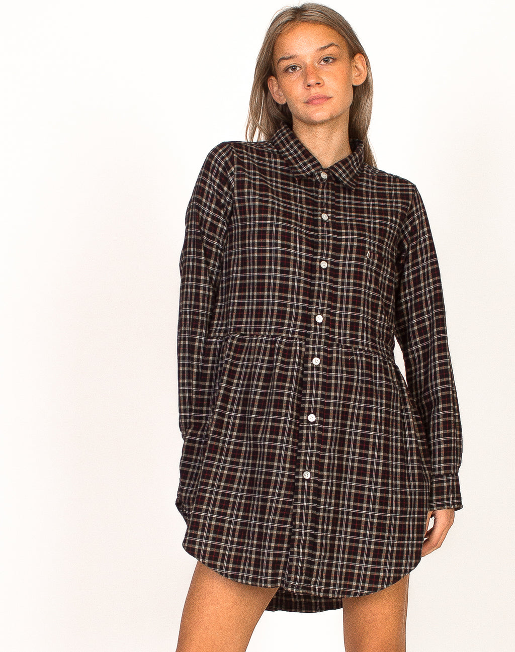 RALPH LAUREN BLACK CHECK SMOCK DRESS