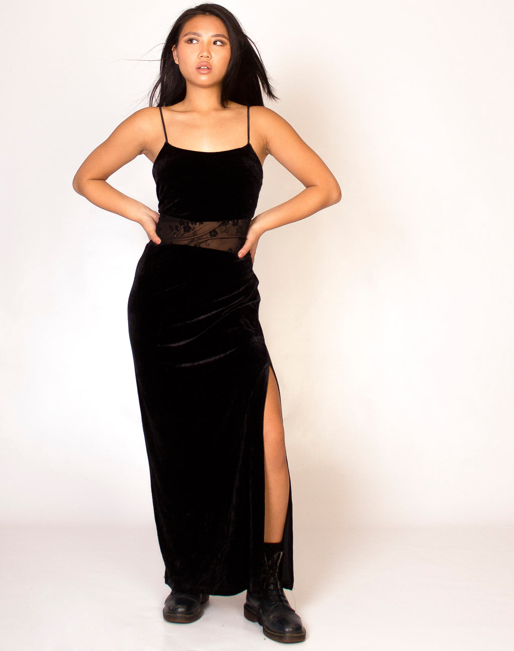 BLACK VELVET LACE PANEL MAXI DRESS