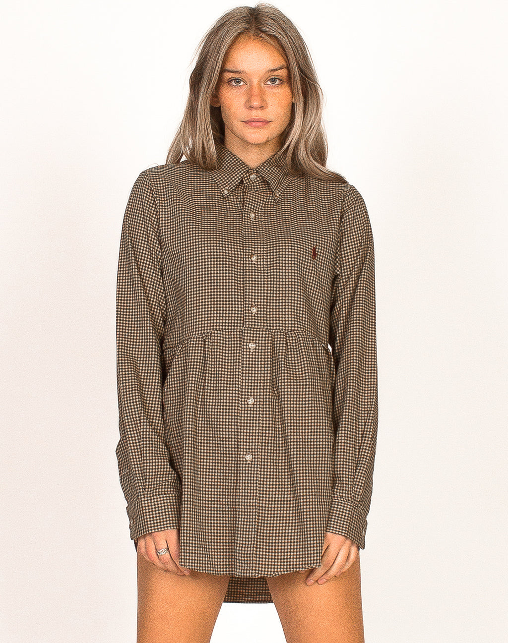 RALPH LAUREN GREEN CHECK SMOCK DRESS