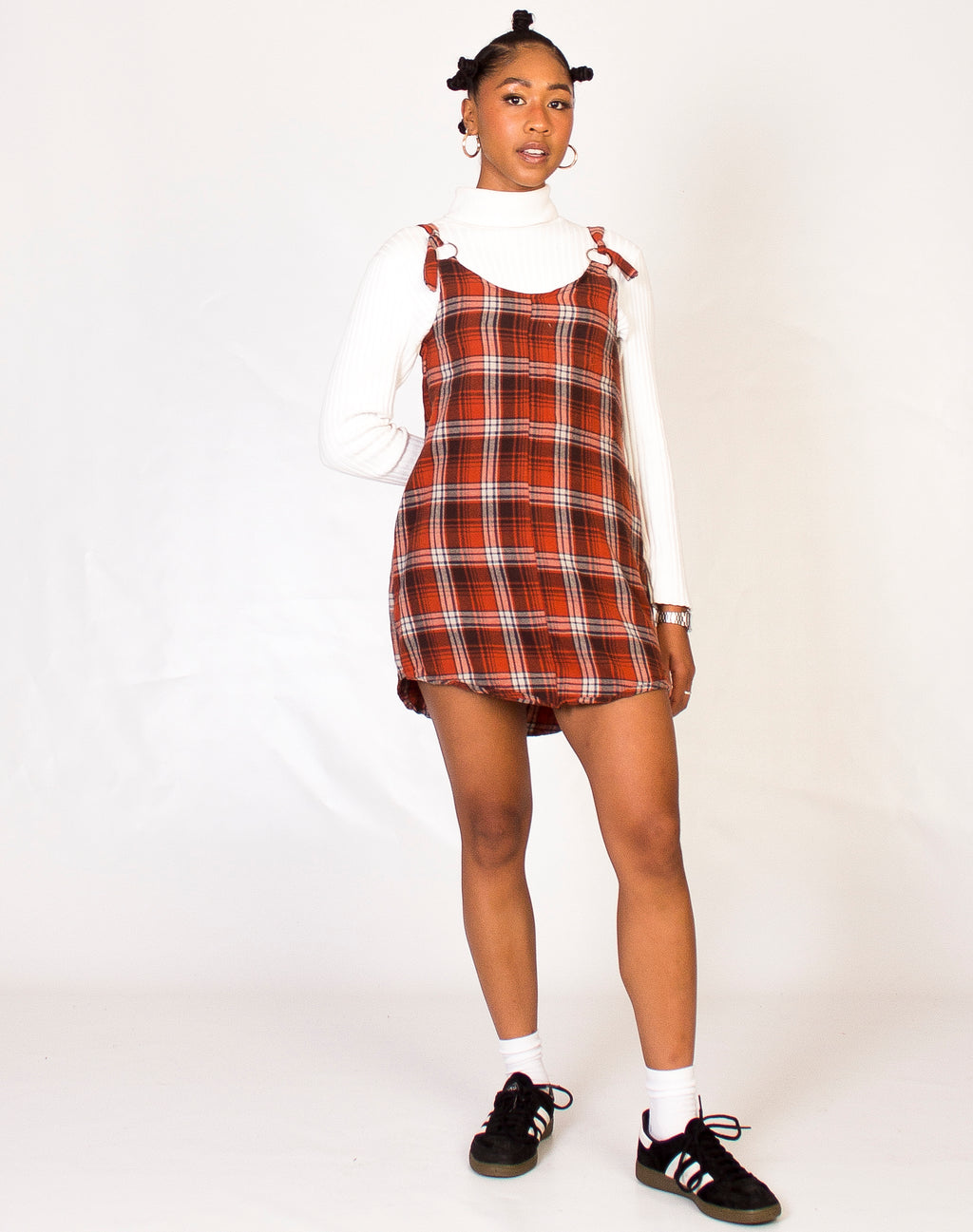 BURNT ORANGE PLAID MAGGIE DRESS