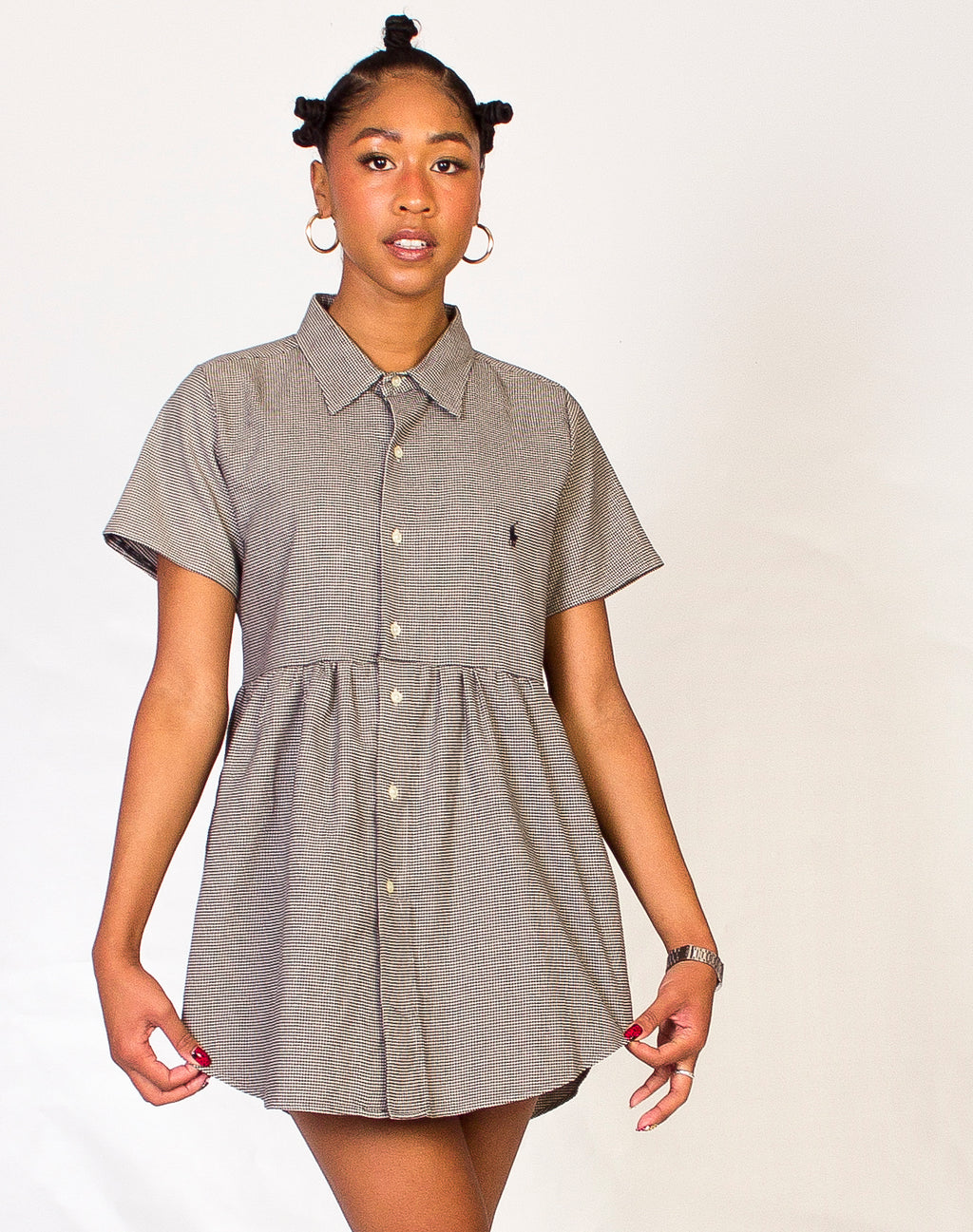 RALPH HOUNDSTOOTH SHORT SLEEVE ROXY DRESS