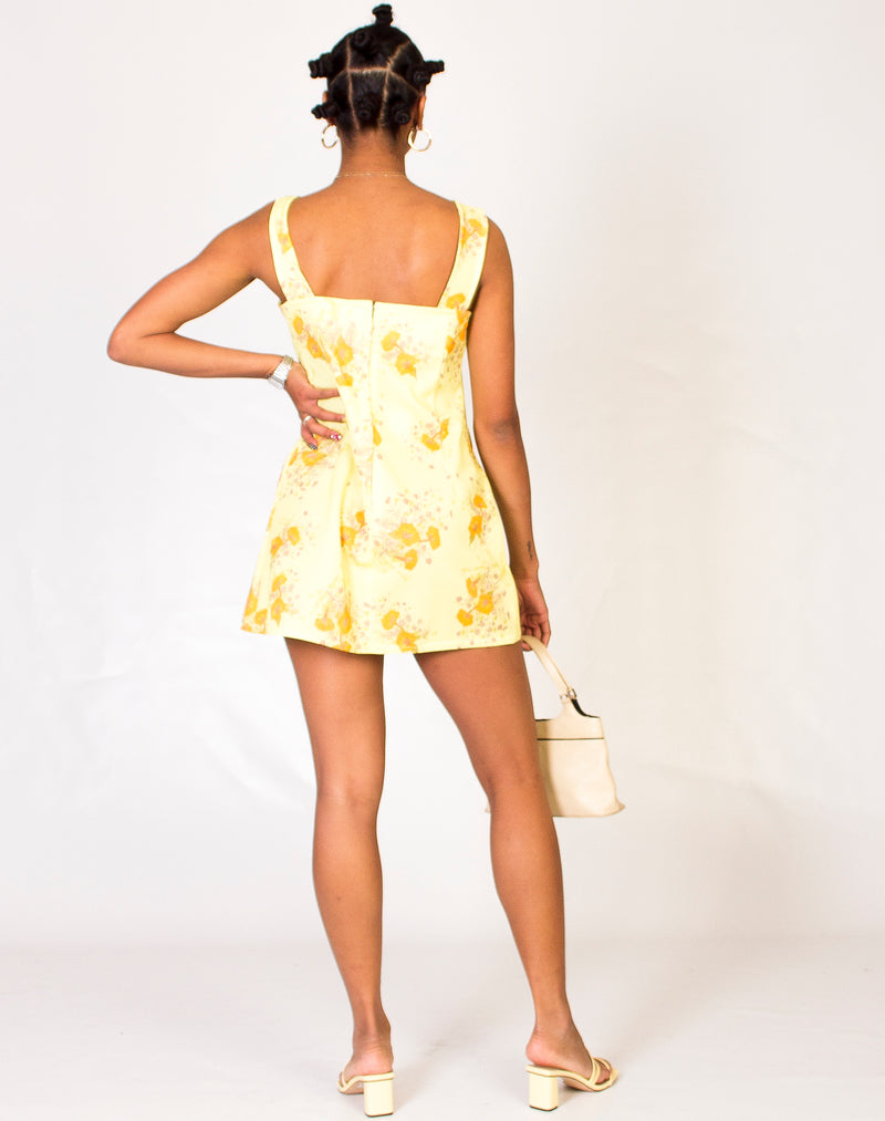 60s YELLOW FLORAL BABYDOLL DRESS