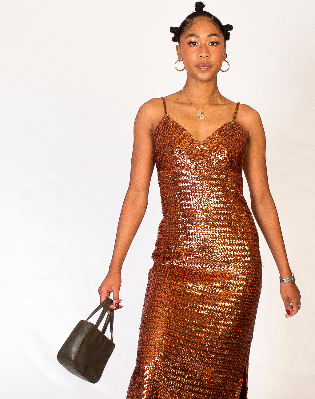 COPPER SEQUIN MAXI DRESS
