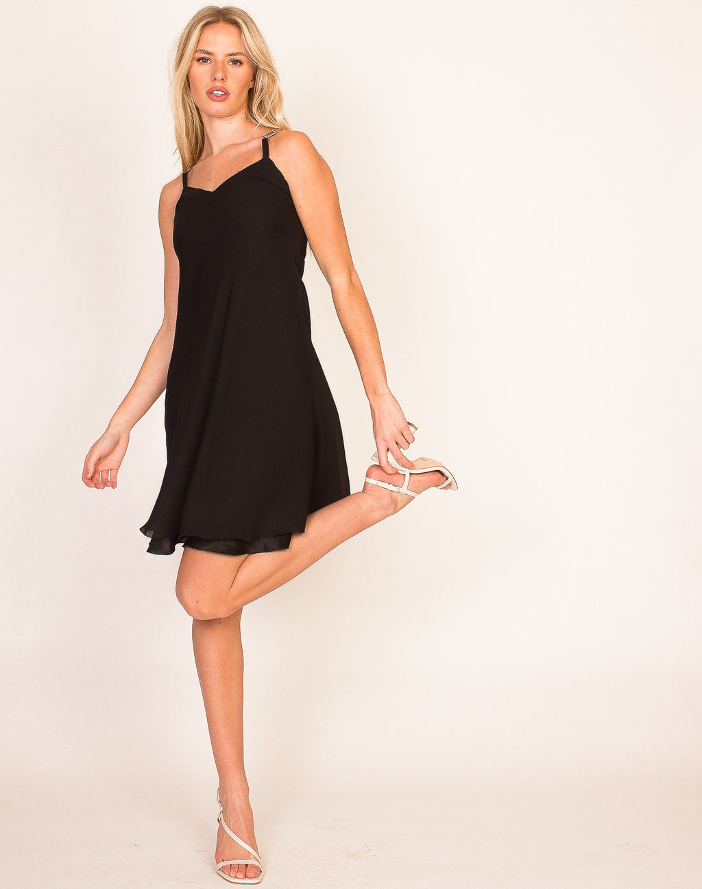 DIAMANTÉ STRAP BLACK SWING DRESS