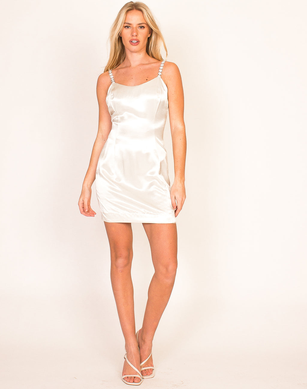 PEARLESCENT DAISY STRAP MINI DRESS