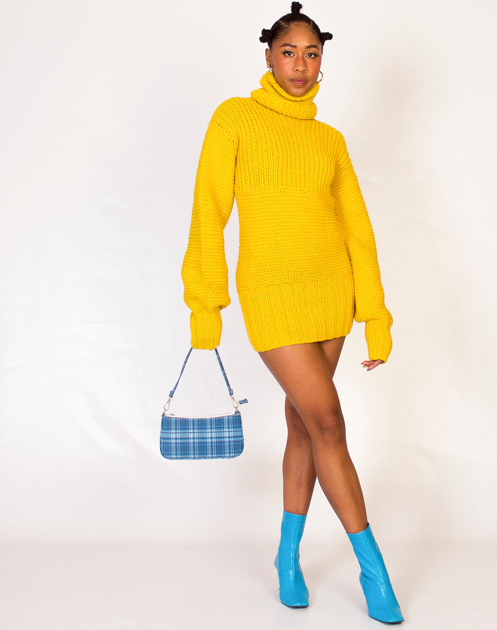YELLOW WOOLY JUMPER DRESS