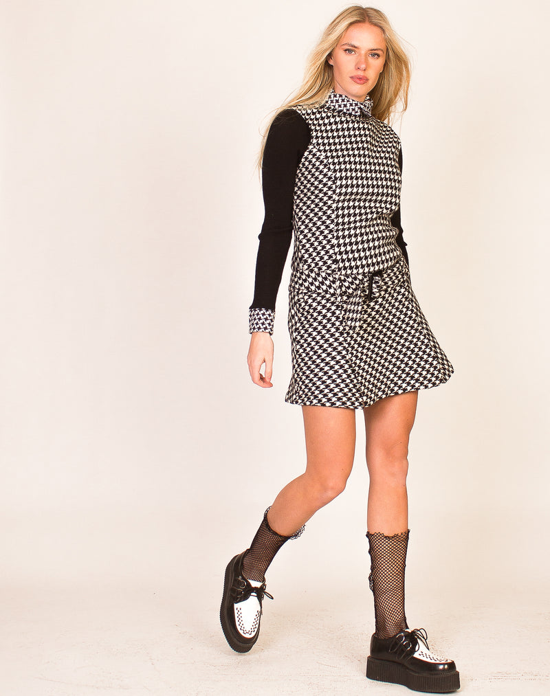 MONOCHROME HOUNDSTOOTH MINI DRESS