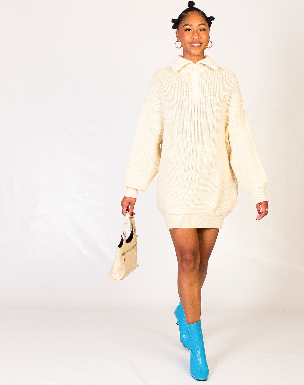 CREAM ZIP NECK JUMPER DRESS