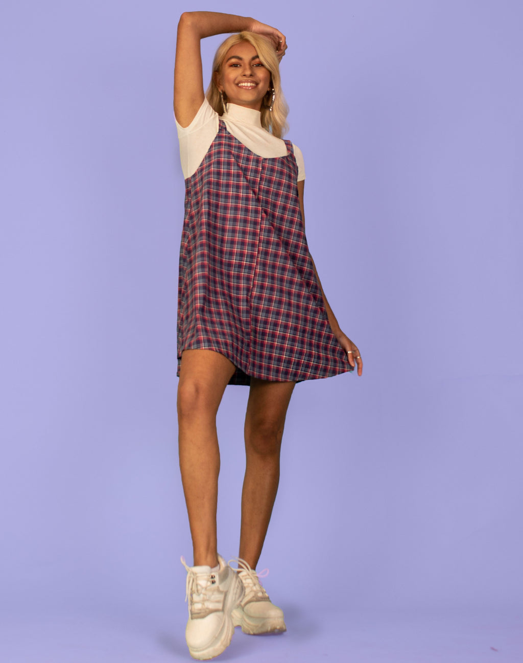 RALPH PURPLE/BLUE CHECK OLLIE SLIP DRESS