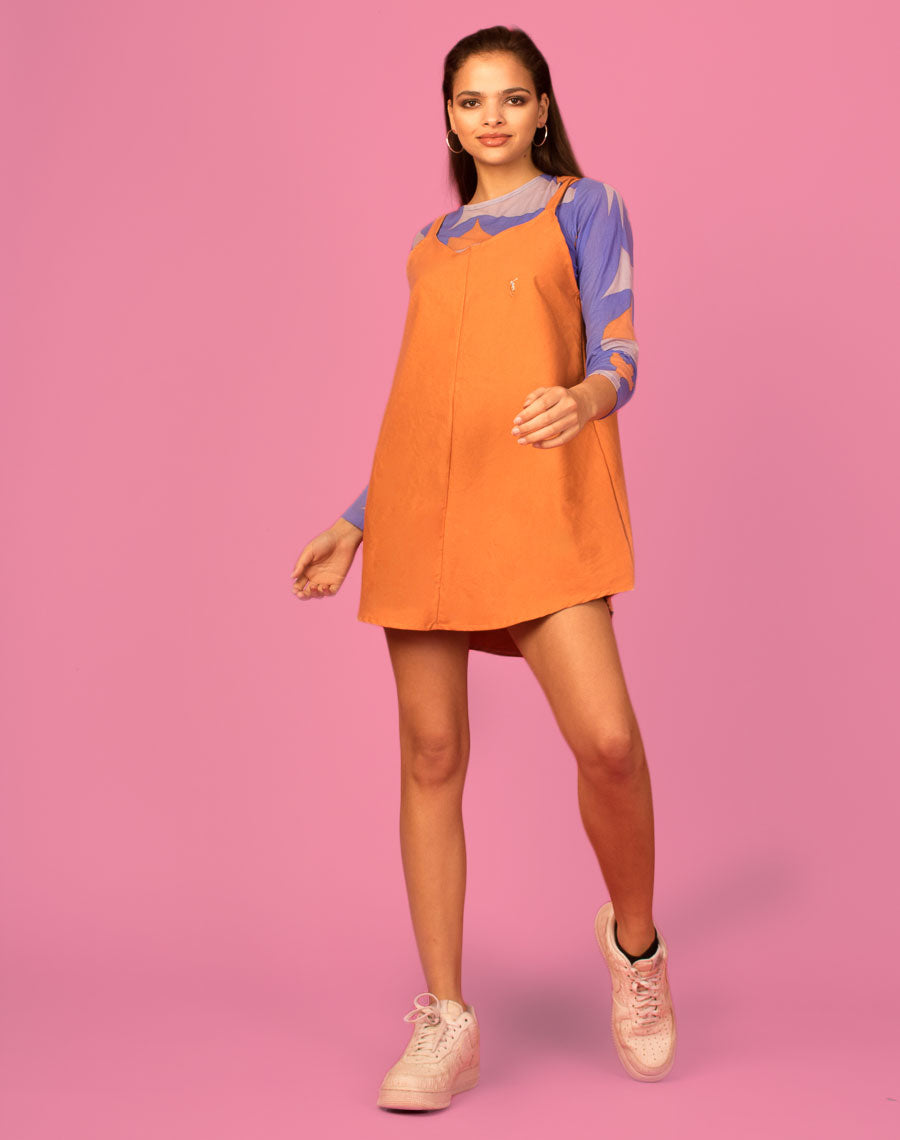 RALPH BURNT ORANGE OLLIE SLIP DRESS
