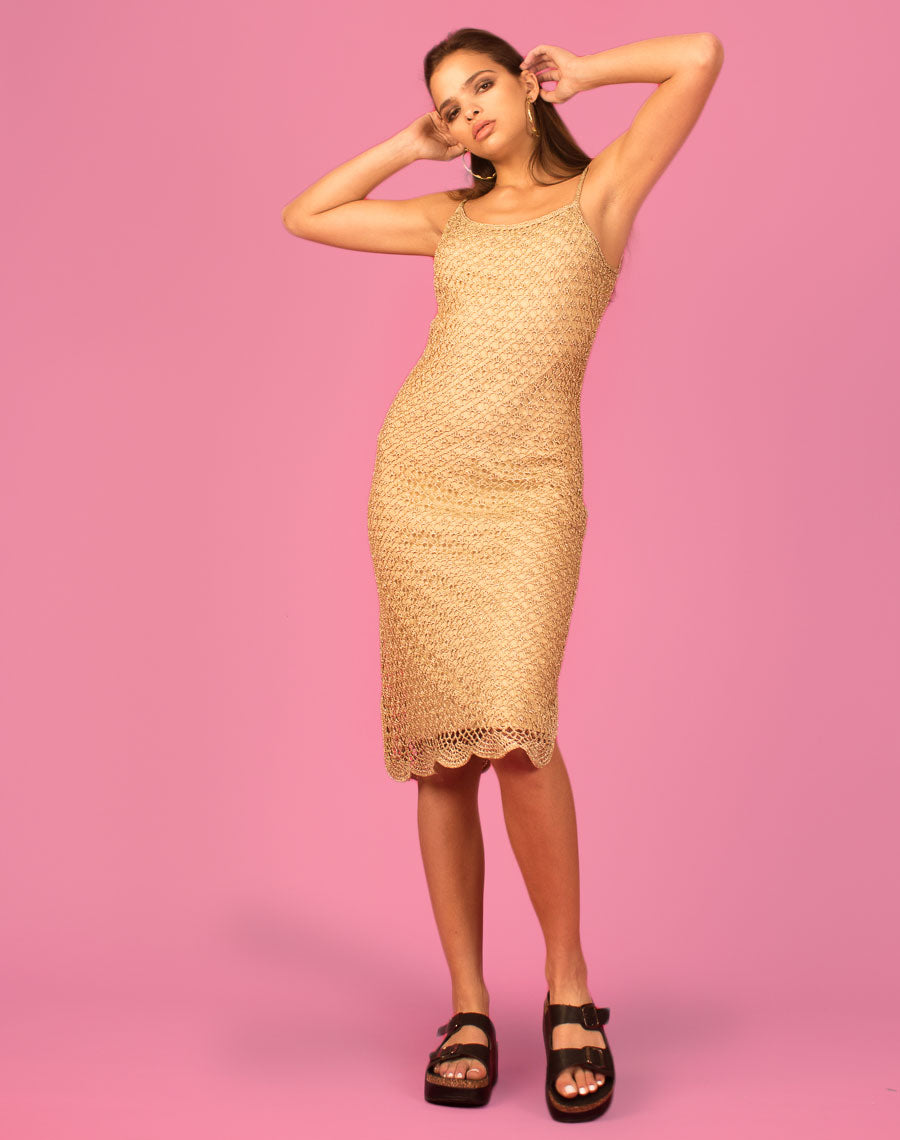 GOLD GLITTER CROCHET MIDI DRESS
