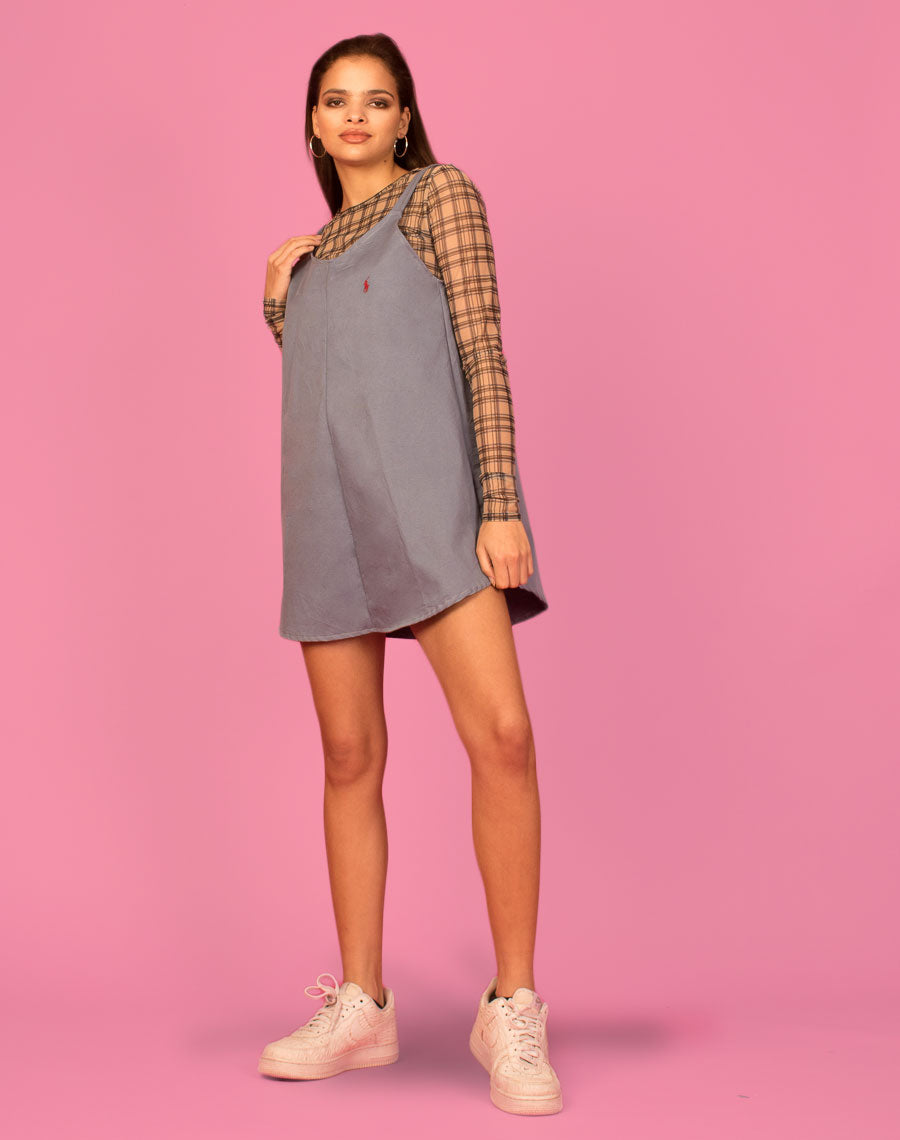 RALPH BLUE GREY OLLIE SLIP DRESS