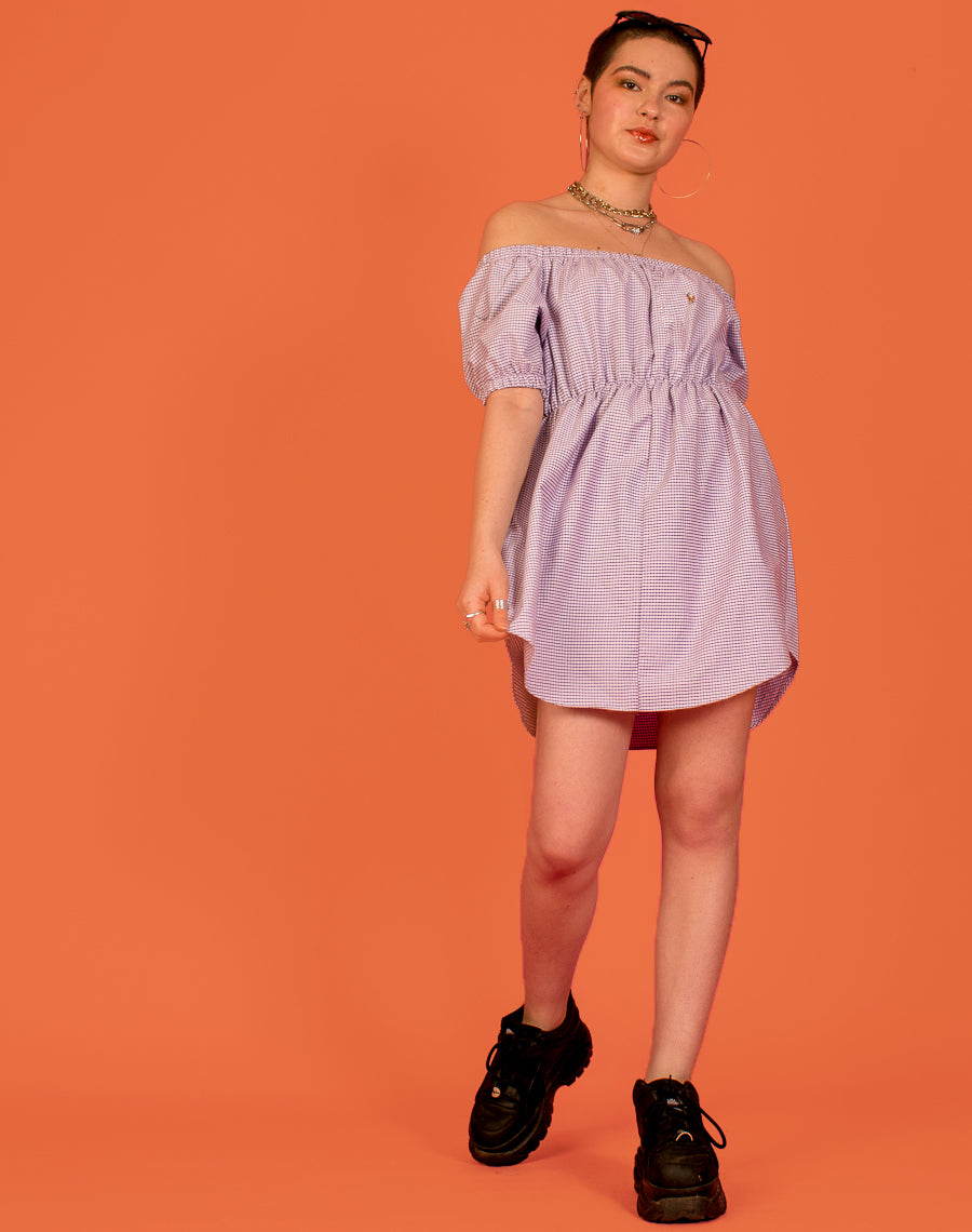 RALPH LILAC CHECK FRANCES DRESS