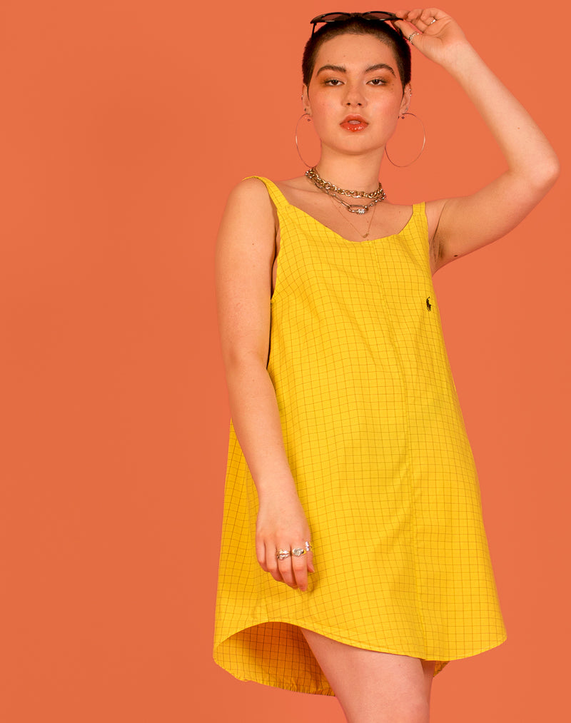 RALPH YELLOW CHECK OLLIE SLIP DRESS