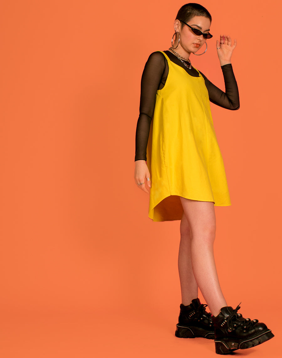 RALPH YELLOW OLLIE POCKET SLIP DRESS