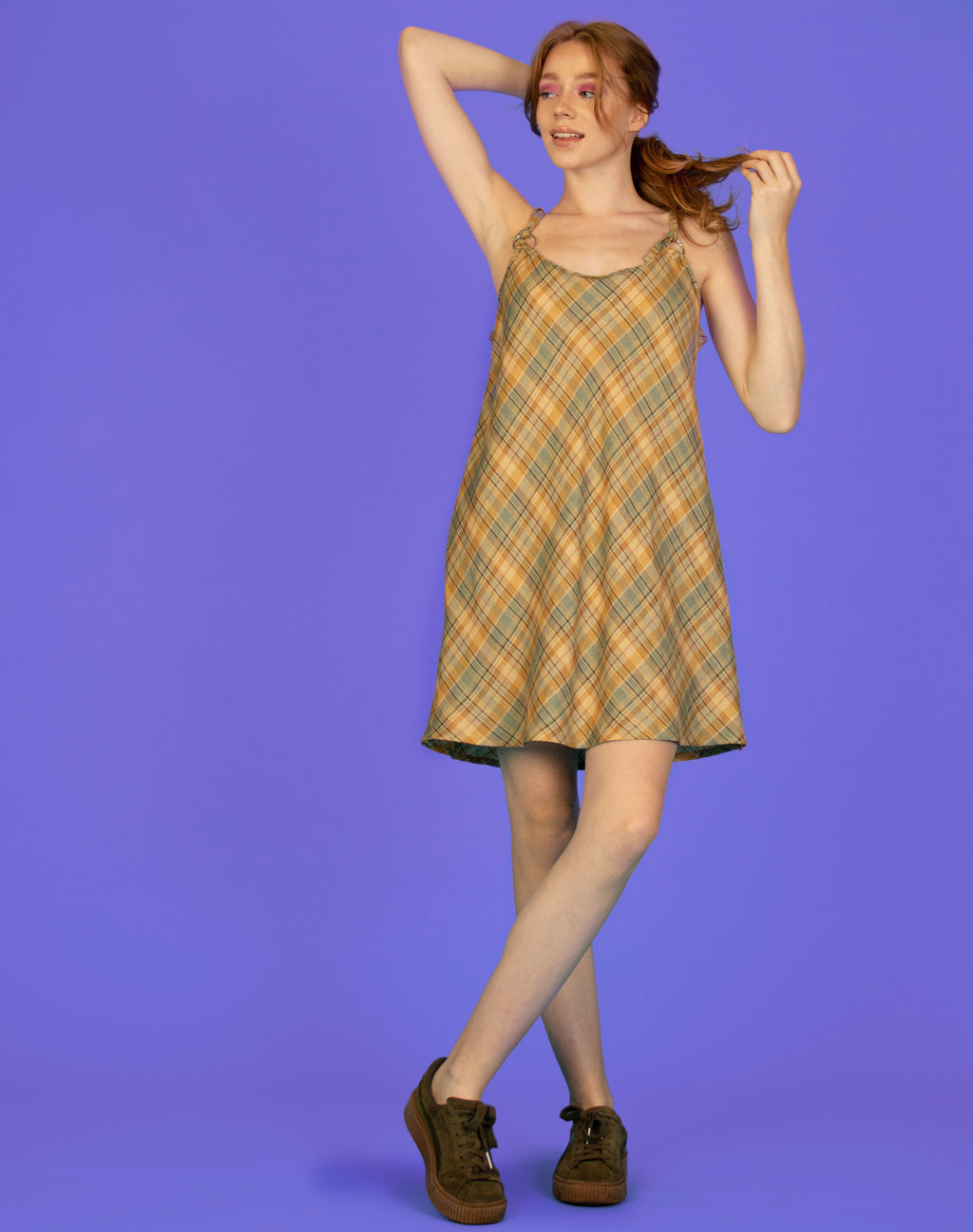 MUSTARD PLAID MAGGIE SLIP DRESS