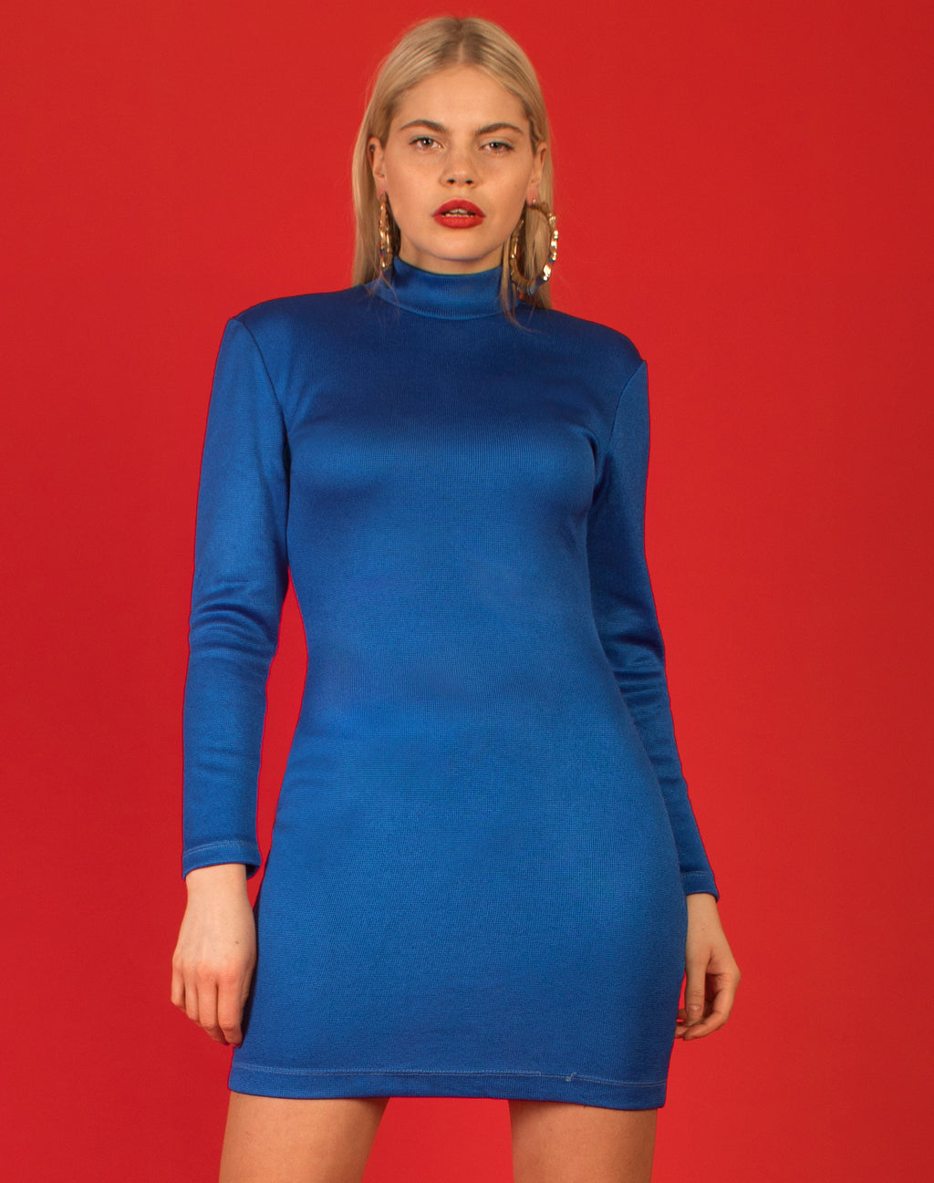 COBALT BLUE TURTLENECK DRESS