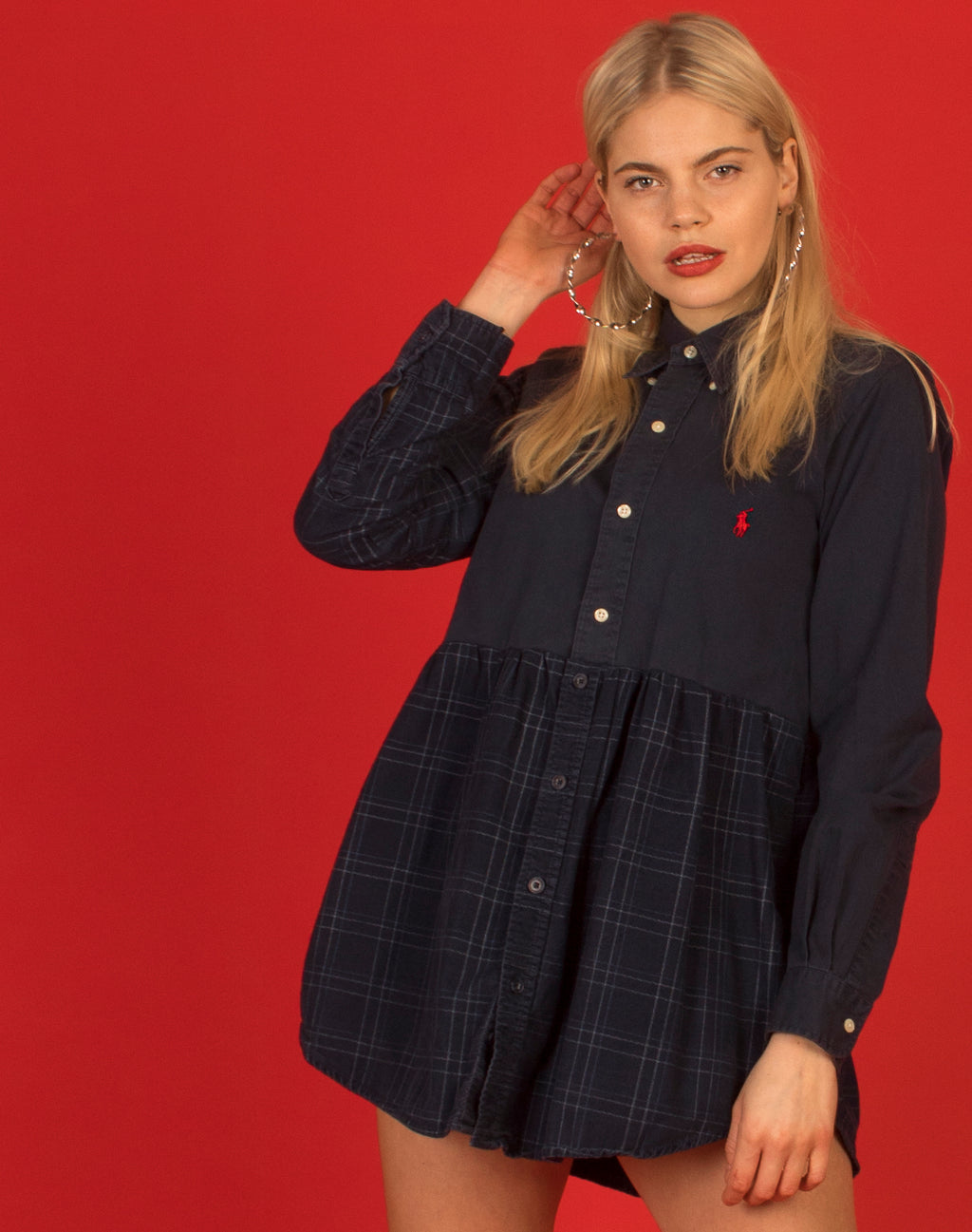 RALPH BLUE CHECK CONTRAST SMOCK DRESS