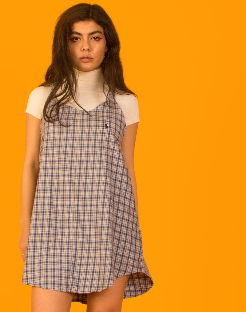 RALPH BLUE CHECK OLLIE SLIP DRESS