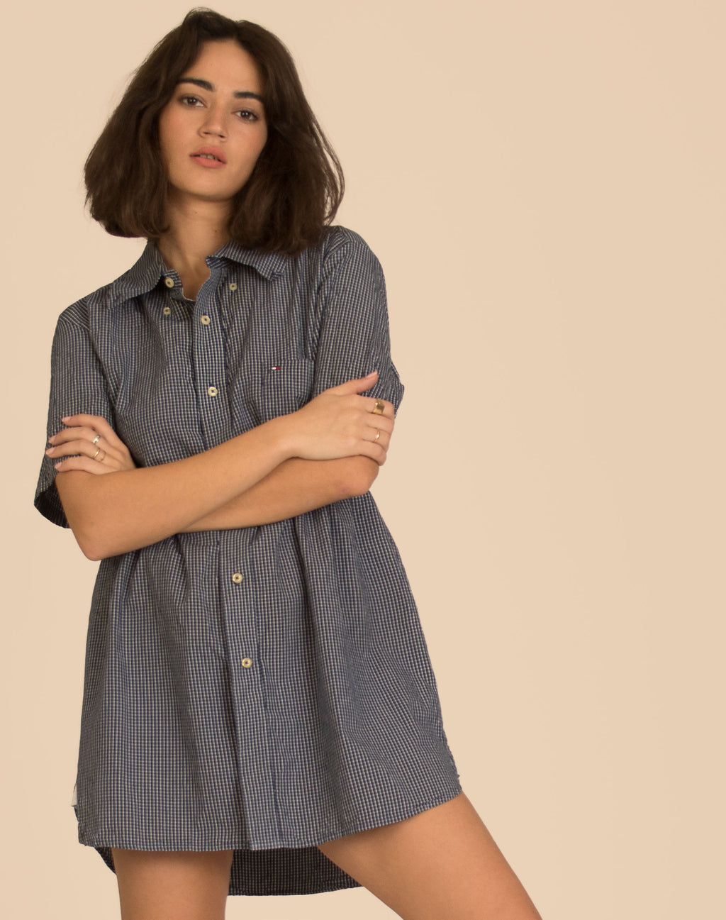 TOMMY HILFIGER NAVY CHECK ROXY SMOCK DRESS