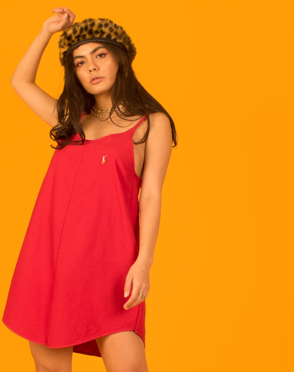 RALPH RED OLLIE SLIP DRESS