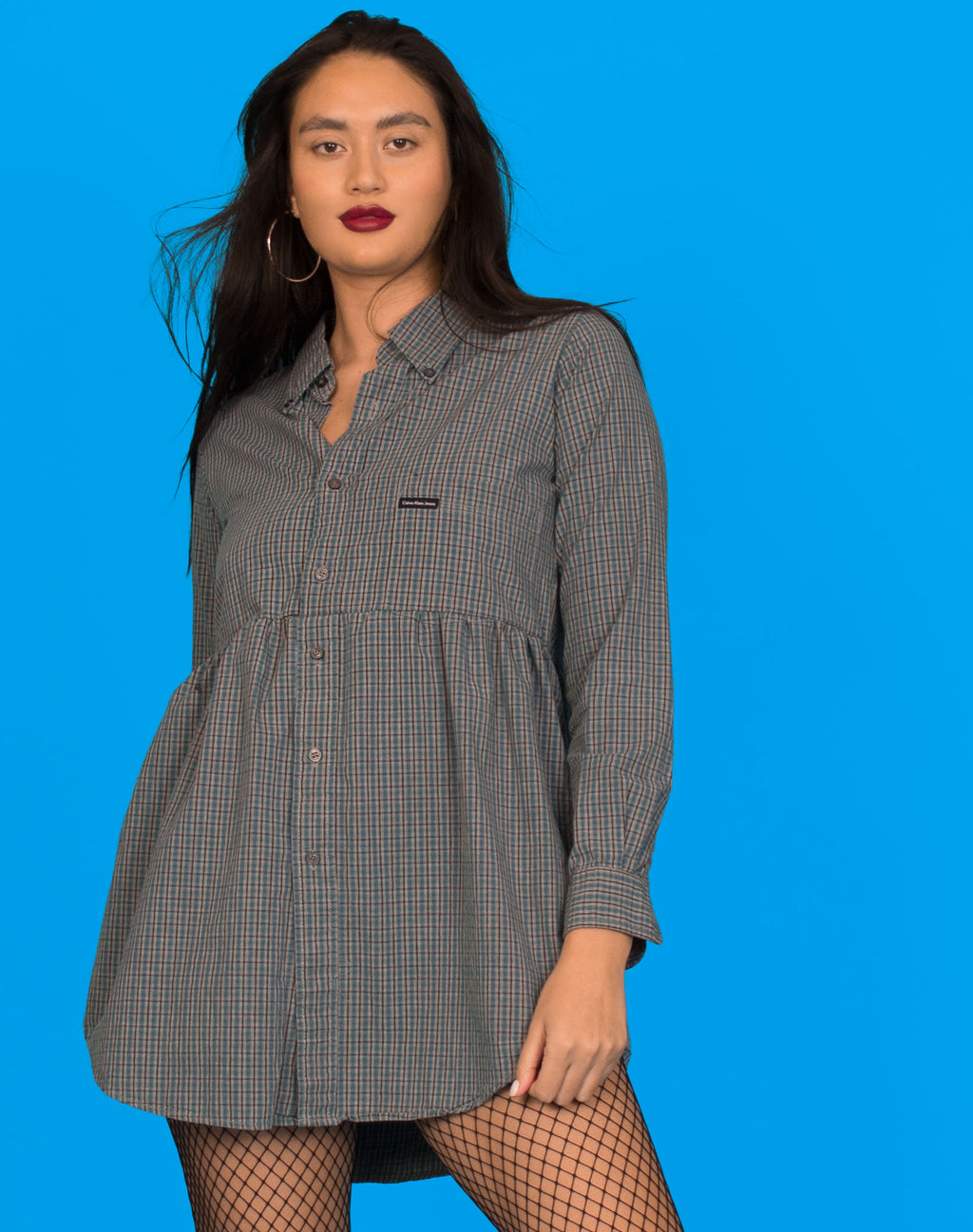CALVIN KLEIN CHECK ROXY SMOCK DRESS