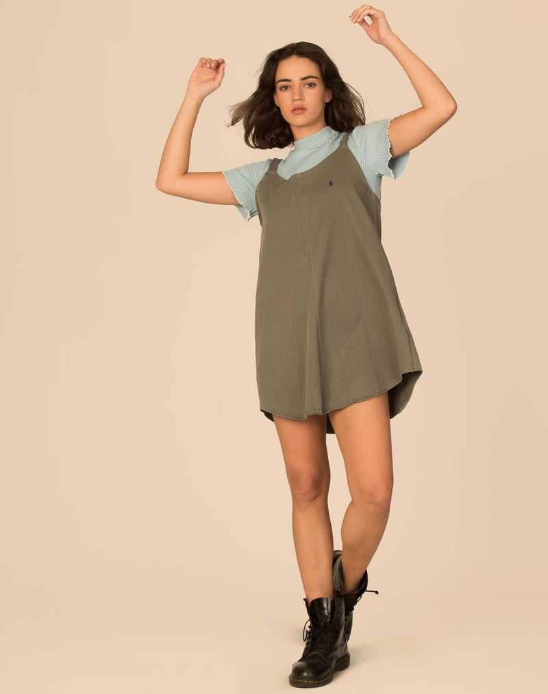 RALPH WASHED KHAKI OLLIE SLIP DRESS