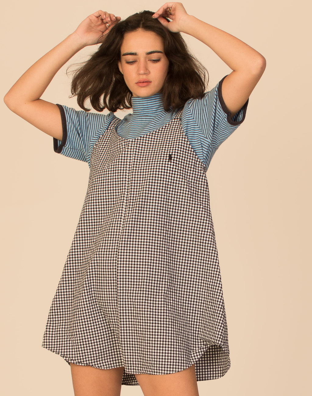 RALPH GINGHAM MONO OLLIE SLIP DRESS