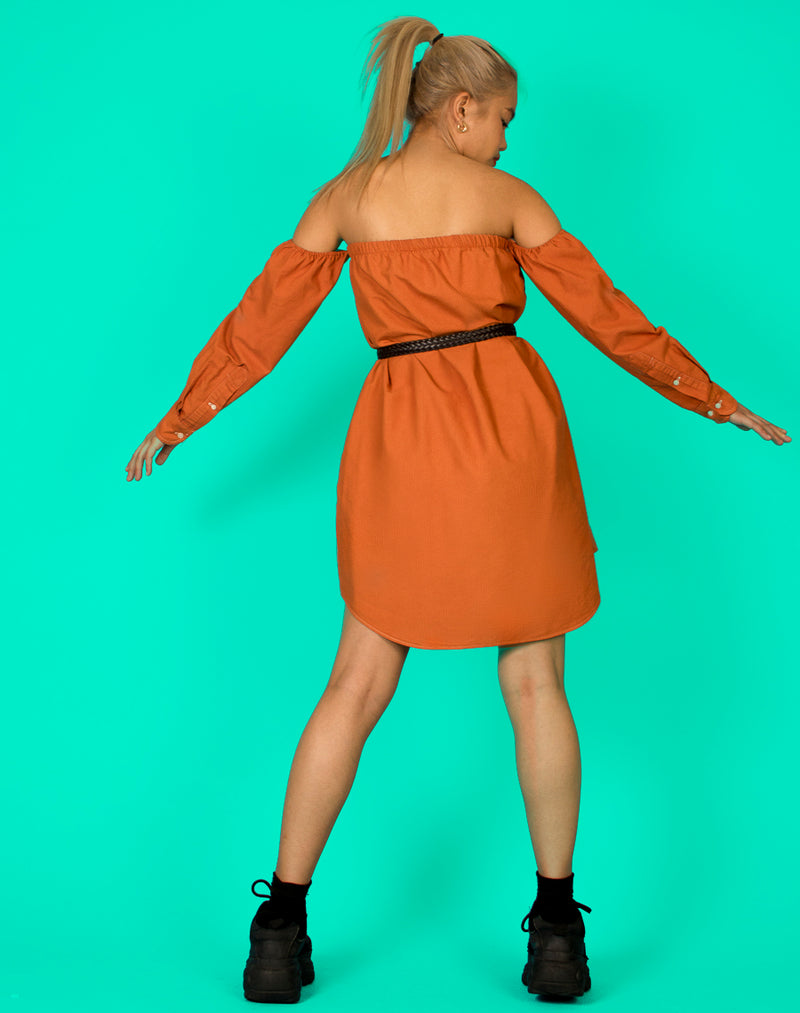 RALPH BURNT ORANGE BARDOT DRESS
