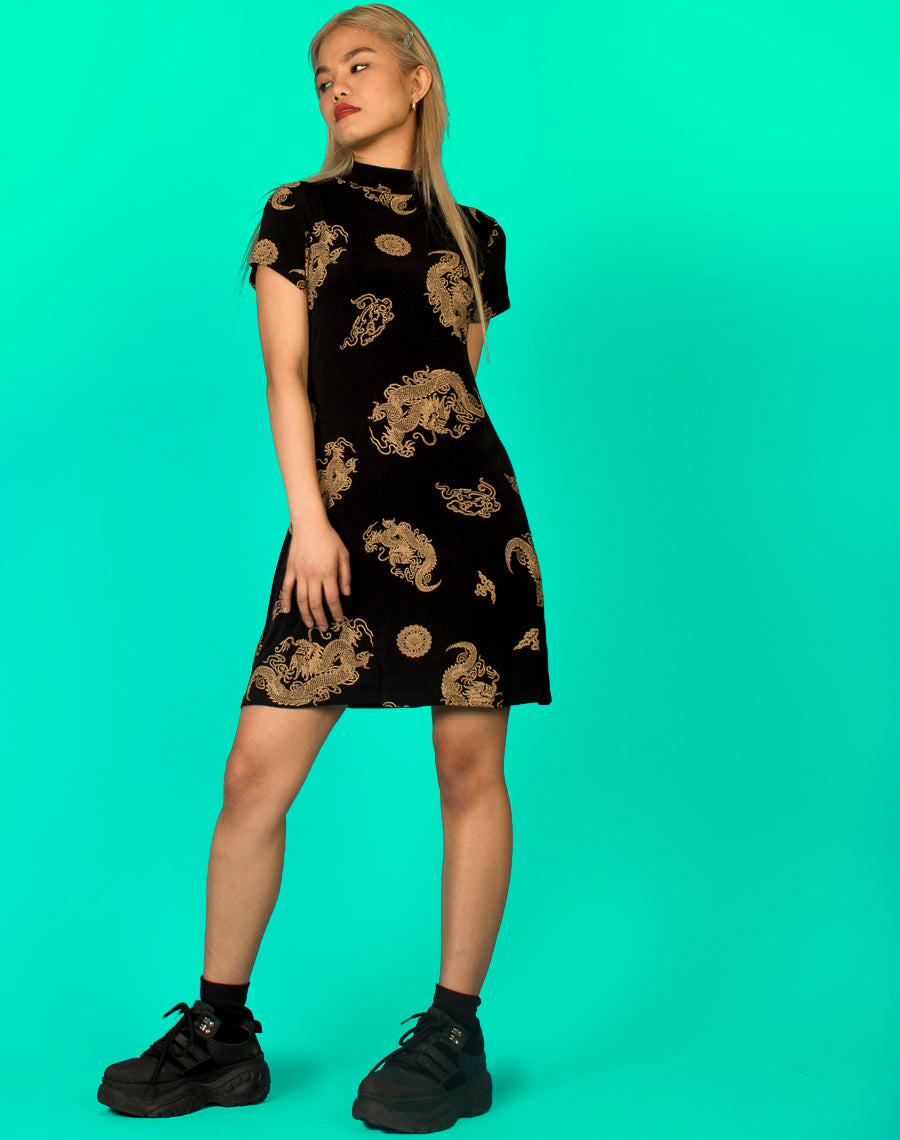 DRAGON PRINT TURTLENECK DRESS