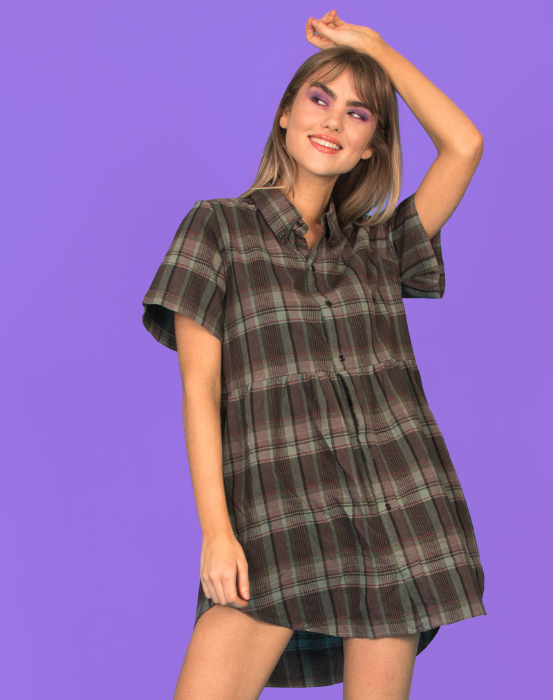 RALPH TRI TONE CHECK ROXY SMOCK DRESS