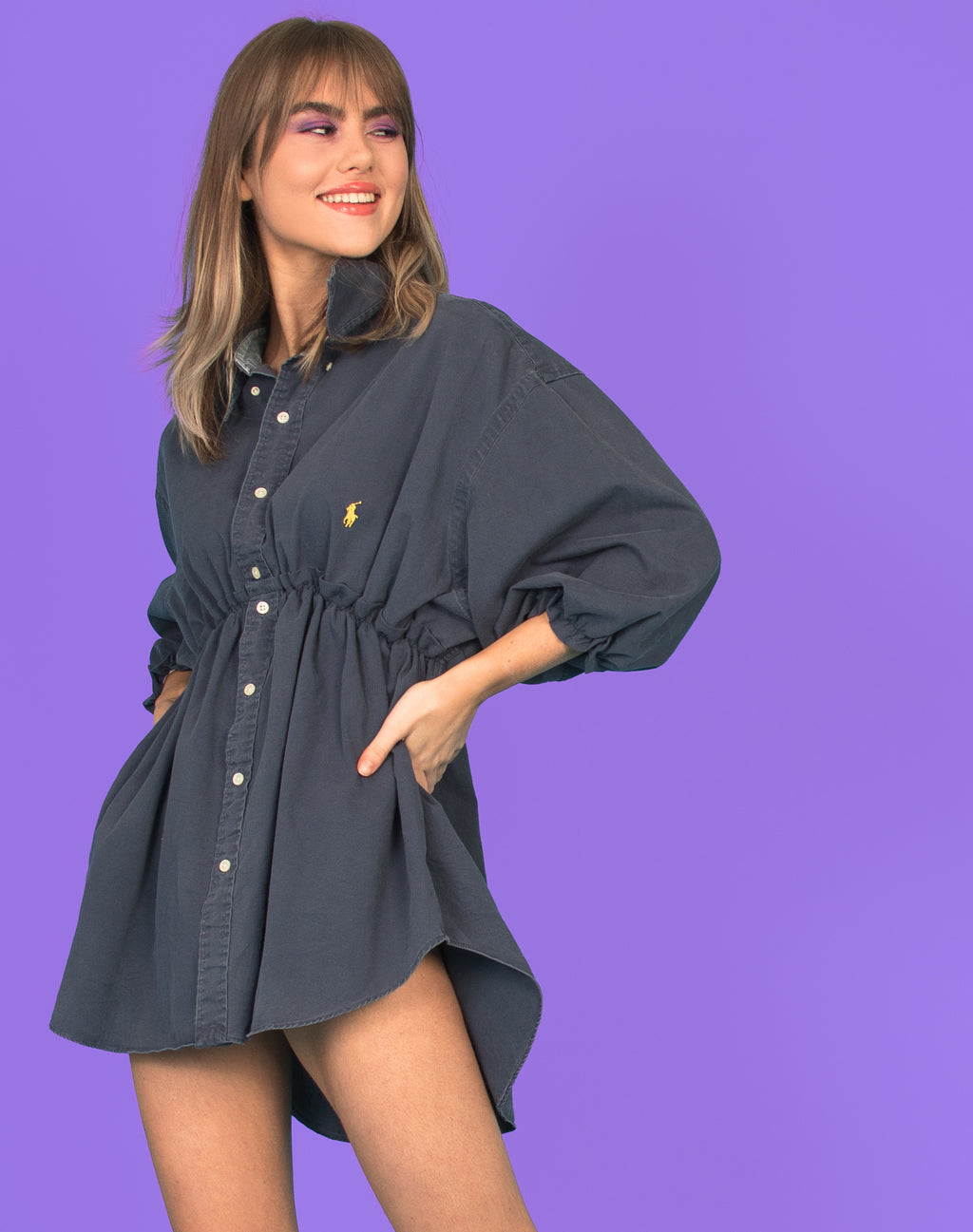 RALPH WASHED NAVY HANNAH SMOCK DRESS