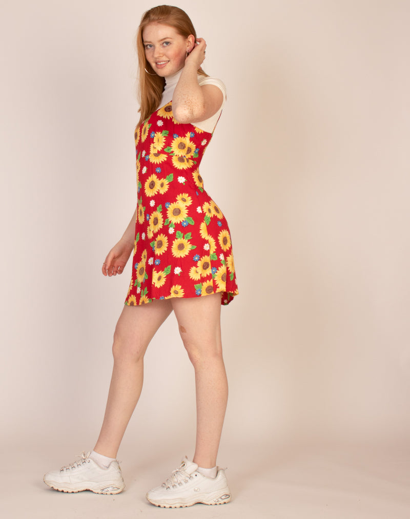 RED SUNFLOWER SLIP DRESS