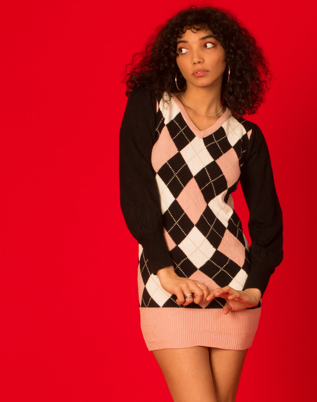 BARBIE ARGYLE SWEATER DRESS