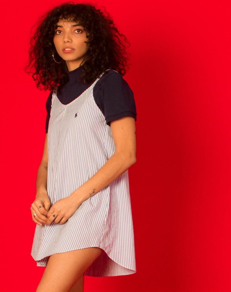 RALPH PINSTRIPE SHIFT DRESS