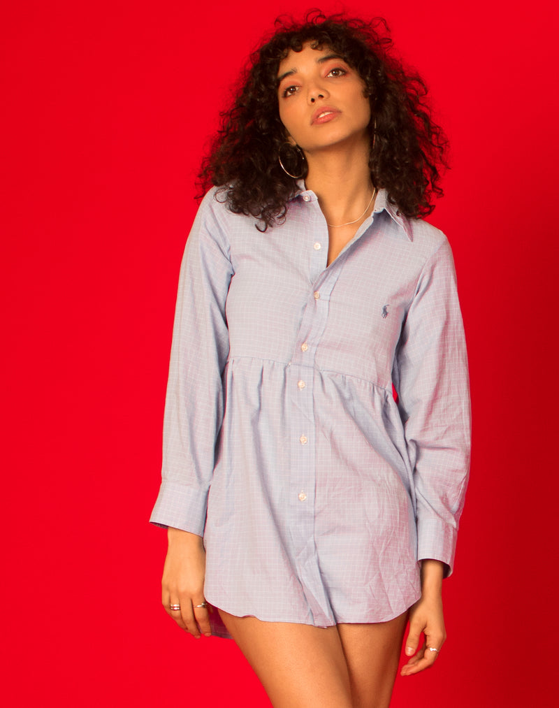 RALPH BLUE GRID CHECK ROXY SMOCK DRESS