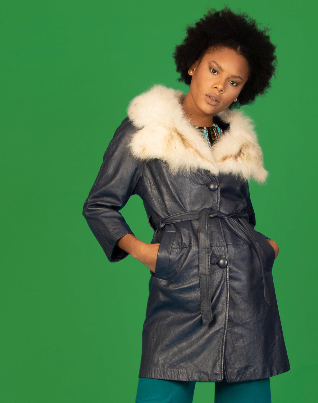 BLUE LEATHER AFGHAN COAT