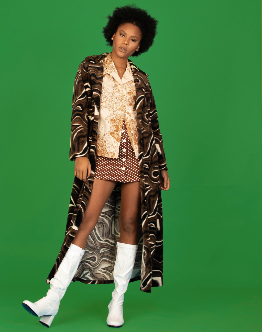 BROWN SWIRL FUZZY TRENCH COAT