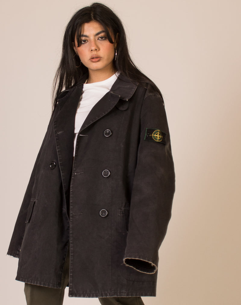 STONE ISLAND BLACK TRENCH COAT