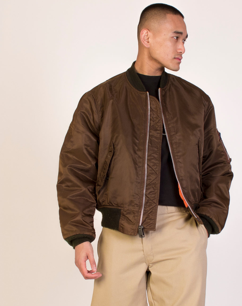 BROWN REFLECTIVE BOMBER JACKET