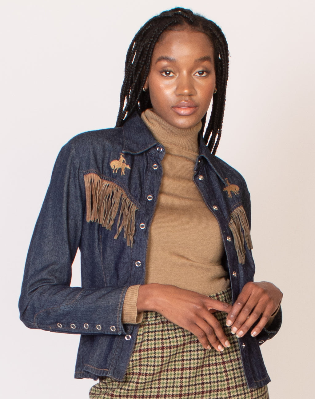 BLUE DENIM COW BOY TASSLE JACKET
