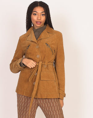 BROWN CORD BELTED JACKET